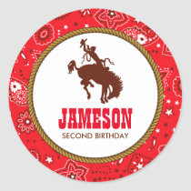 Cowboy Western Old West Birthday Baby Shower Classic Round Sticker