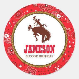 Cowboy Western Old West Birthday Baby Shower Classic Round Sticker