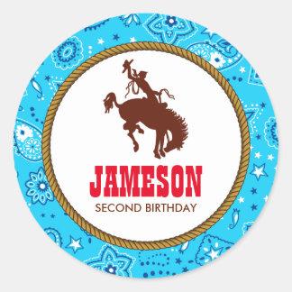 Cowboy Western Old West Birthday Party Classic Round Sticker