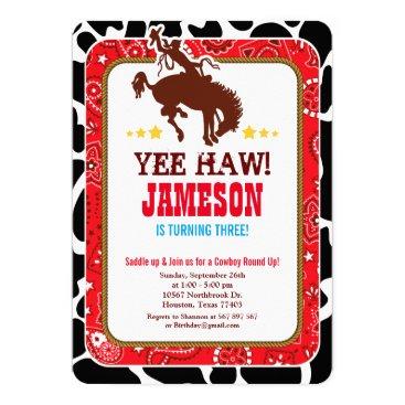 OwlieInvites Cowboy Western Old West Birthday Party Invitation