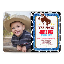 Cowboy Western Old West Birthday Photo Invitation