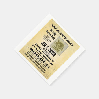 Cowboy Western Party Wanted Poster Paper Napkin