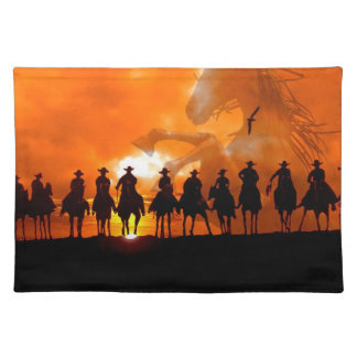 Cowboy Western Ranch American MoJo Placemat art Cloth Placemat