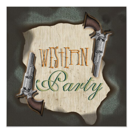 Cowboy western ranch corral party 5.25x5.25 square paper invitation card
