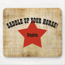 Cowboy Western Red Star Mouse Pad