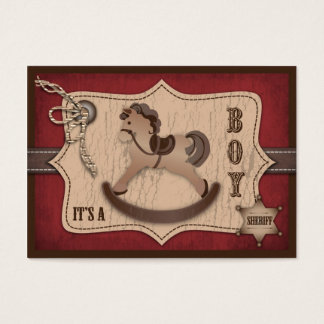 Cowboy Western Rocking Horse Baby Shower Business Card