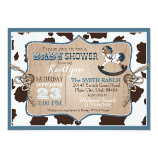 Cowboy Western Rocking Horse Baby Shower Card