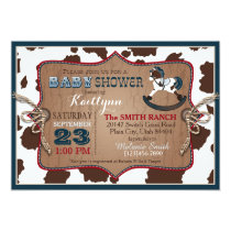 Cowboy Western Rocking Horse Baby Shower Invitation
