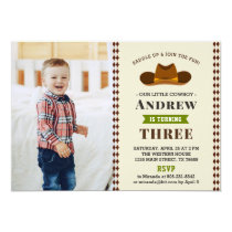 Cowboy Western Rodeo Baby Boy Photo 1st Birthday Invitation