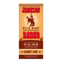 Cowboy Western Rodeo Birthday Ticket Pass Invitation