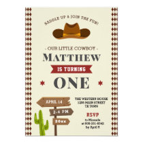Cowboy Western Saloon 1st Baby Boy Wild Birthday Invitation