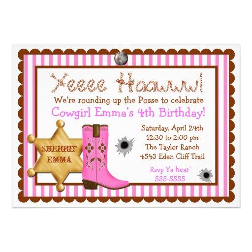 Personalized Cowgirl birthday Invitations | CustomInvitations4U.com
