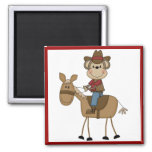 Cowboy With Brown Horse Tshirts and Gifts Magnets