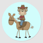 Cowboy With Brown Horse Tshirts and Gifts Round Sticker
