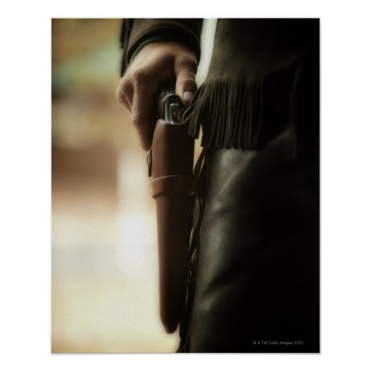 Cowboy with gun in holster poster
