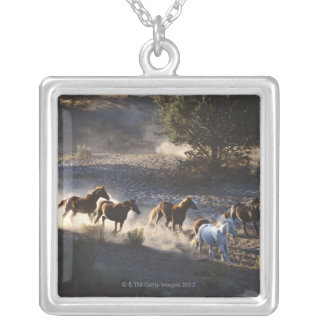Cowboy with herd of horses silver plated necklace