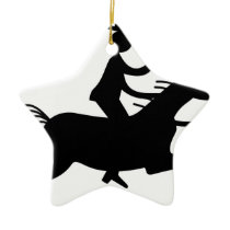 Cowboy with Horn Ceramic Ornament