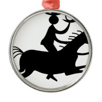 Cowboy with Horn Metal Ornament