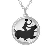 Cowboy with Horn Silver Plated Necklace