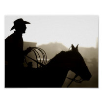 Cowboy with horse at rodeo poster