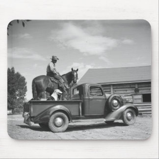 Cowboy with horse in a truck mouse pad