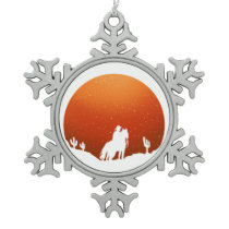 Cowboy with horse Wild West sunset landscape Snowflake Pewter Christmas Ornament