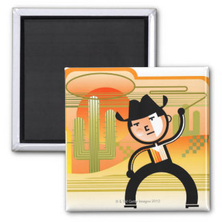 Cowboy with lasso and cactus magnet
