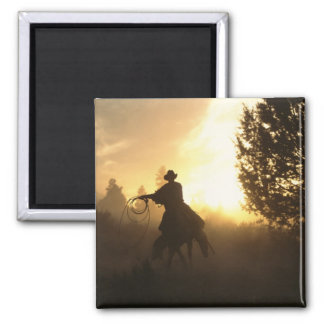 Cowboy with Lasso in Sunset 2 Inch Square Magnet