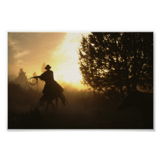Cowboy with Lasso in Sunset Poster