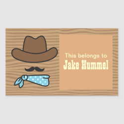 Rectangle Sticker with Iconic Cowboy Moustache design