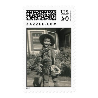 cowboy with open mouth postage stamp