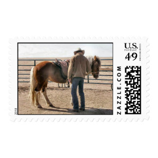Cowboy with Paint Horse in Corral Stamp
