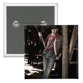 Cowboy with Pistol and Rifle 2 Inch Square Button