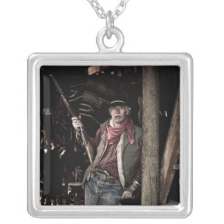Cowboy with Pistol and Rifle Silver Plated Necklace