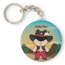 Cowboy with sheriff hat Keychain