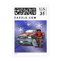 Cowboy With Truck On Blue Snowflake Background Postage