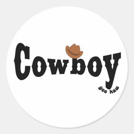 cowboy yeehaw classic round sticker