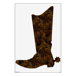 Cowboyboot with brown Sunflower Design Wall Decal