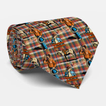 Cowboys and Horse On Plaid Tie