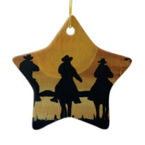 cowboys and horses ceramic ornament