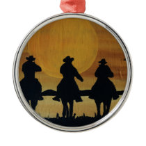cowboys and horses metal ornament