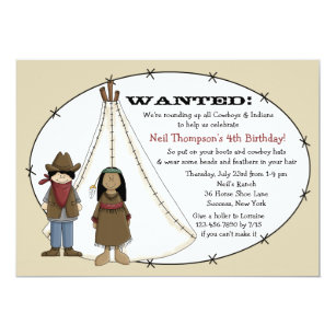 Cowboy And Indian Birthday Invitations Announcements Zazzle