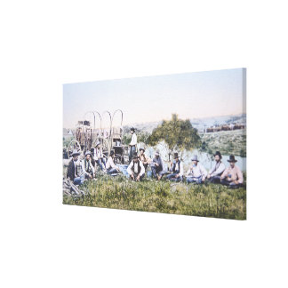 Cowboys at Lunch, 1904 (photo) Canvas Print