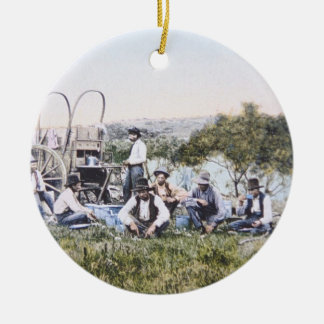 Cowboys at Lunch, 1904 (photo) Ceramic Ornament