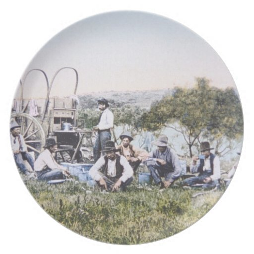 Cowboys at Lunch, 1904 (photo) Dinner Plates