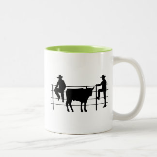 Cowboys at Ranch; Cool Two-Tone Coffee Mug
