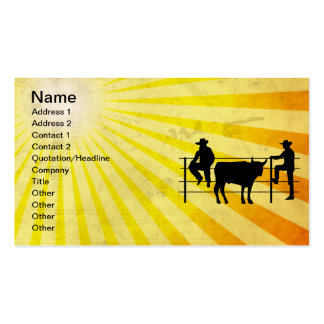 Cowboys at Ranch; yellow Business Card Templates