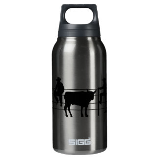 Cowboys at Ranch; yellow Insulated Water Bottle
