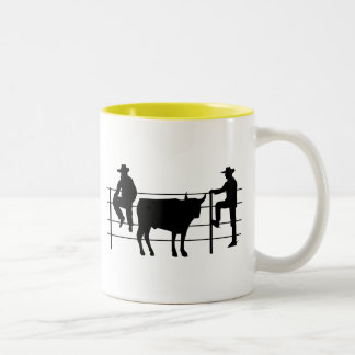 Cowboys at Ranch; yellow Two-Tone Coffee Mug