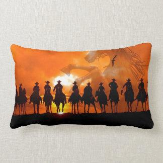 Cowboys at sunset western roundup American MoJo Pi Lumbar Pillow